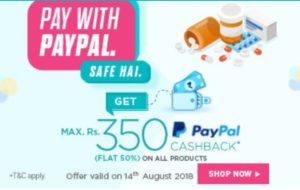 Netmeds - Flat 50% Cashback Upto Rs.350 On The First-Ever PayPal transaction