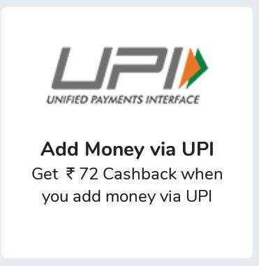 Mobikwik - Get Rs.72 Cashback When You Add Money Via UPI