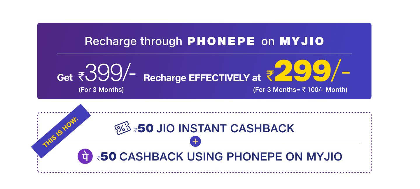 Phonepe Offer - Get Rs.50 Instant Off + Rs.50 Cashback On Jio Recharge Of Rs.300 & More