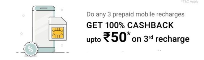 Phonepe - Get 100% Cashback Up To Rs.50 On 3rd Prepaid Mobile Recharges