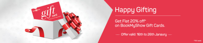 Bookmyshow - Get Flat 20% Off on Bookmyshow Gift Cards