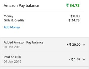 (Proof added) (Loot Offer) Amazon Niki - Get Free Rs.20 Amazon Pay Balance For All Users