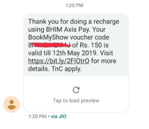 (Proof Added) Bhim Axis Pay - Get Rs.150 BMS Voucher on Your First Recharge Through BHIM Axis Pay
