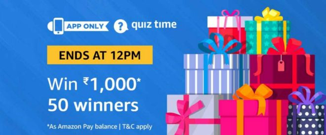 Amazon Quiz Time Daily - Today Answer of Amazon Quiz 22 February 2019