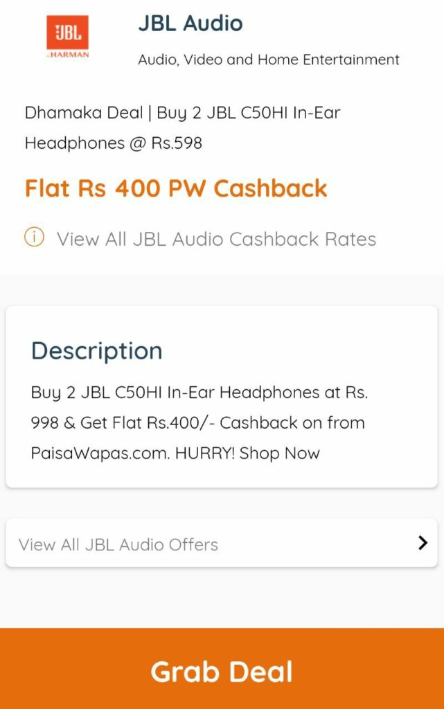 Paisa Wapas Offer - Get Rs.400 PW Cashback On Min. Buy of Rs.799 on JBL.com